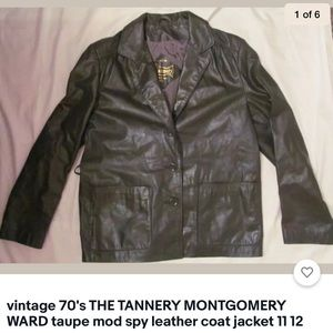Vintage 70's TANNERY taupe spy leather jacket 12
